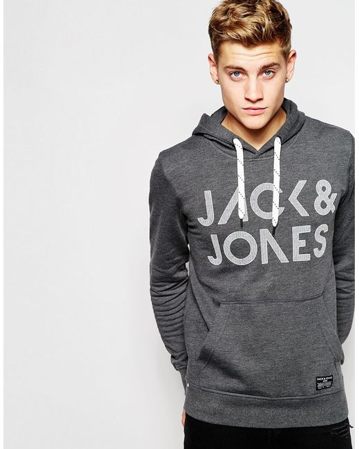 jack jones gray overhead hoodie with embroidery for men lyst. Black Bedroom Furniture Sets. Home Design Ideas