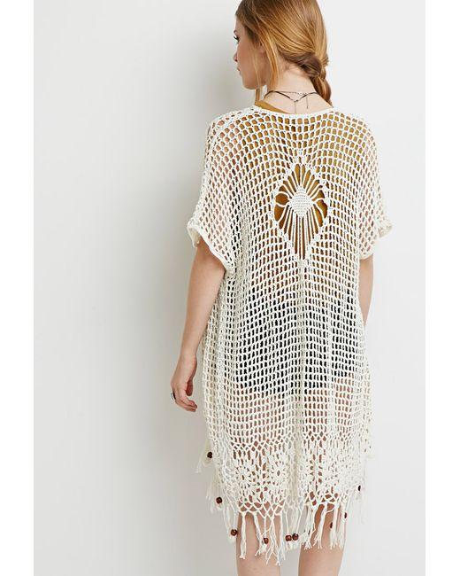 Forever 21 | Natural Beaded Tassel Crochet Cardigan | Lyst