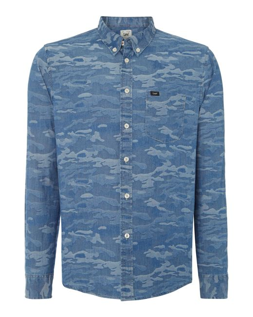 Lee Jeans Classic Fit Button Down Camo Shirt In Blue For