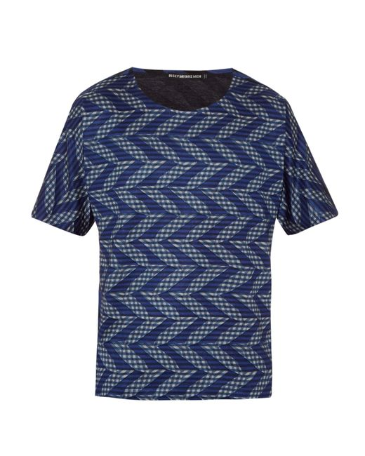 issey miyake geometric zigzag print t shirt in blue for