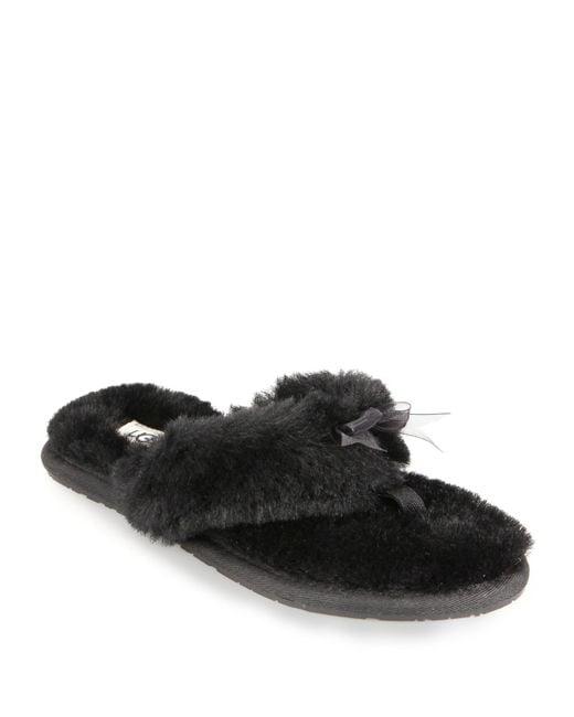 Ugg Fluff Shearling Flip Flops In Black  Lyst-7865