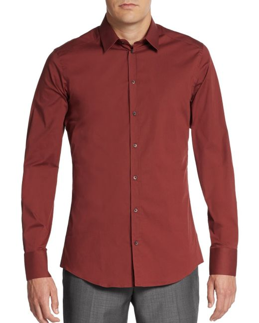 Dolce & Gabbana | Red Regular-fit Stretch-cotton Sportshirt for Men | Lyst