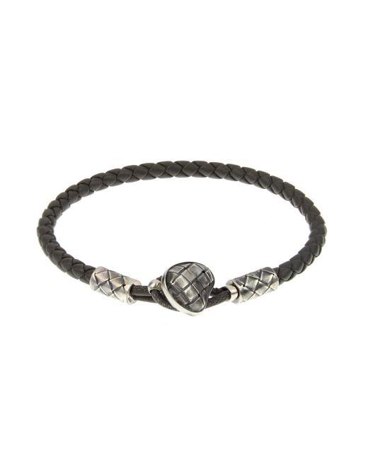 Bottega Veneta | Gray Intrecciato Leather Bracelet for Men | Lyst