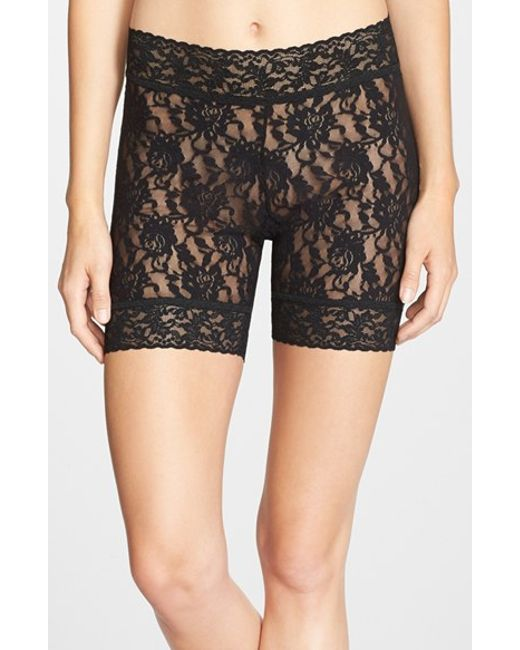 Hanky Panky Sheer Signature Lace Bike Shorts In Black Lyst