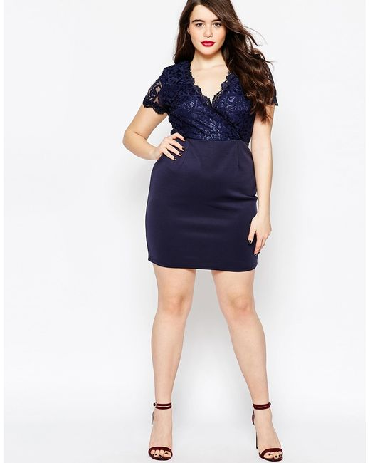 Club L Plus Size Scuba Dress With Lace Sleeves 22