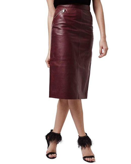 topshop leather midi skirt in burgundy lyst