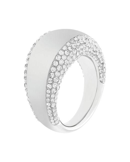 Swarovski | Metallic Pebble Silvertone And Crystal Ring | Lyst