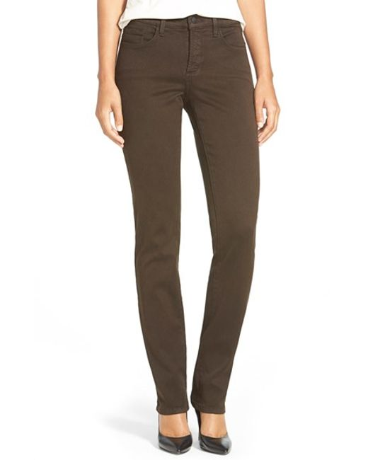 Nydj u0026#39;samanthau0026#39; Colored Stretch Slim Straight Leg Jeans in Brown (MOLASSES) | Lyst