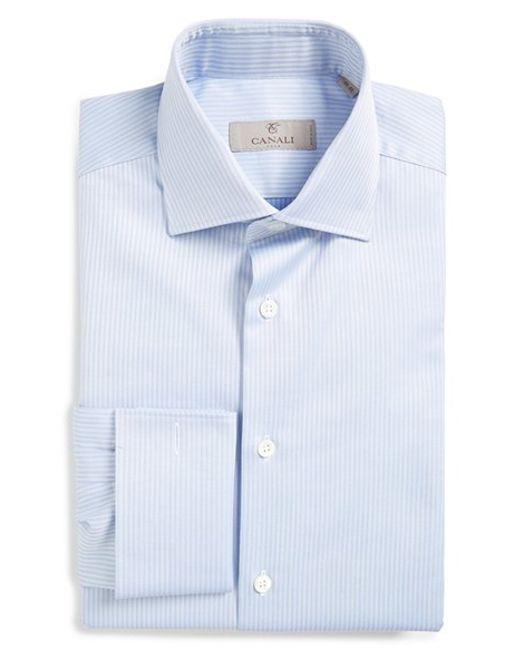 Canali Regular Fit Herringbone French Cuff Dress Shirt In