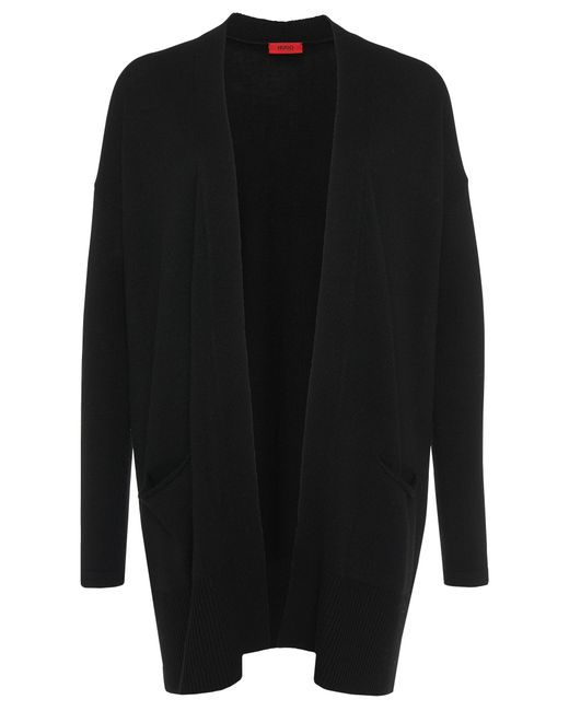 HUGO | Black Cardigan In A Wool Blend With Cashmere: 'shanay' | Lyst