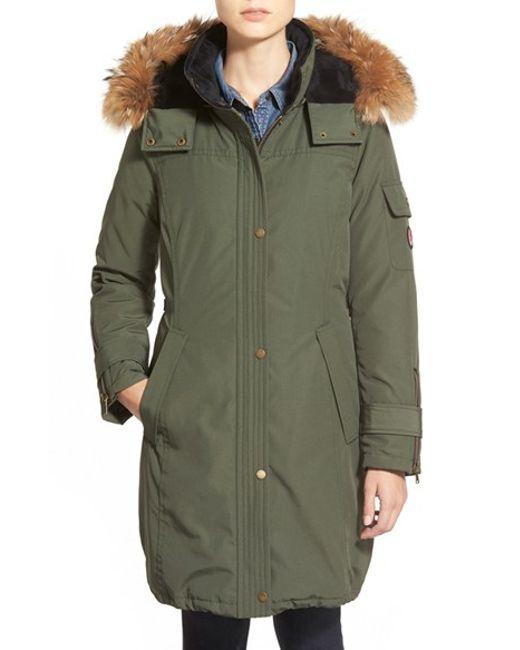 Pendleton | Green 'north Shore' Genuine Coyote Fur Trim Down Parka | Lyst