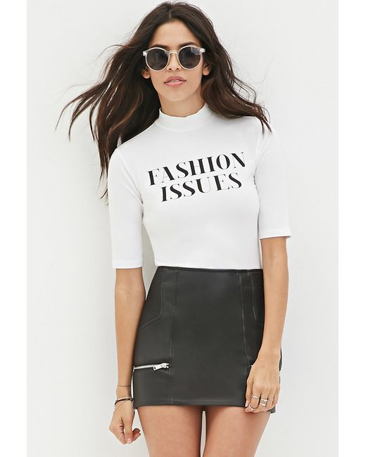 Forever 21 | White Fashion Issues Crop Top You've Been Added To The Waitlist | Lyst