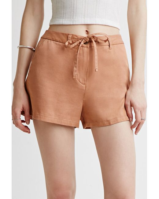 Forever 21 | Brown Contemporary Drawstring Chino Shorts | Lyst
