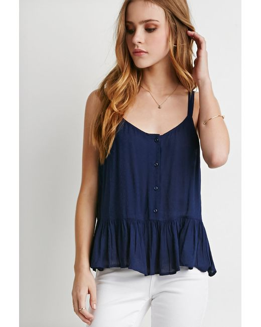 Forever 21 | Blue Buttoned Babydoll Cami | Lyst