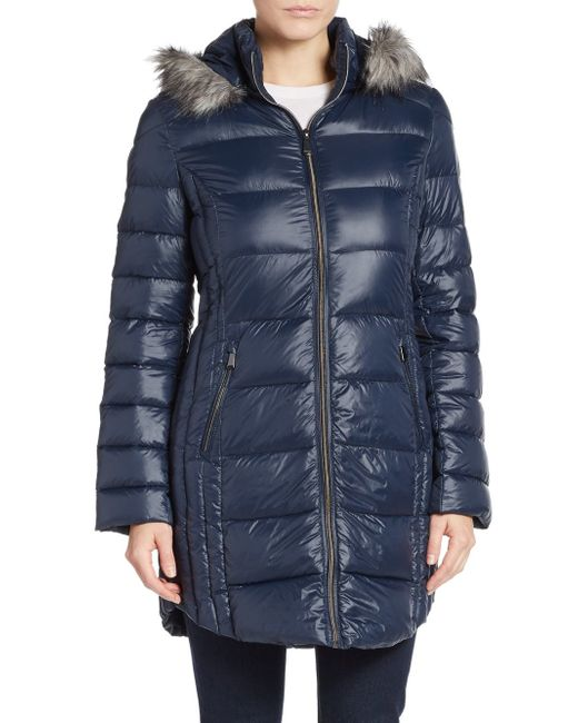 Saks Fifth Avenue | Blue Faux Fur-trimmed Hooded Puffer Coat | Lyst