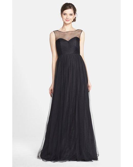 Jenny Yoo | Black 'aria' Illusion Yoke Pleated Tulle Gown | Lyst
