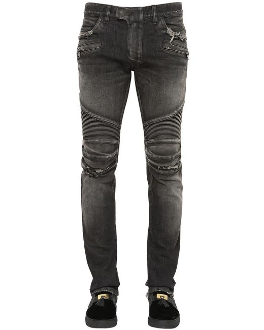 Balmain   Black Distressed Denim Moto Jeans   Lyst