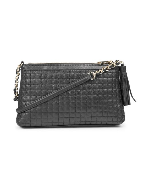 Calvin Klein Quilted Leather Crossbody Bag In Black Black