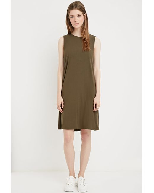 Forever 21   Green Padded-shoulders Trapeze Dress   Lyst