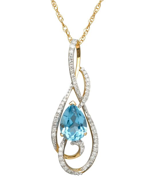 Lord & Taylor | 14k Yellow Gold Blue Topaz And Diamond Pendant Necklace | Lyst