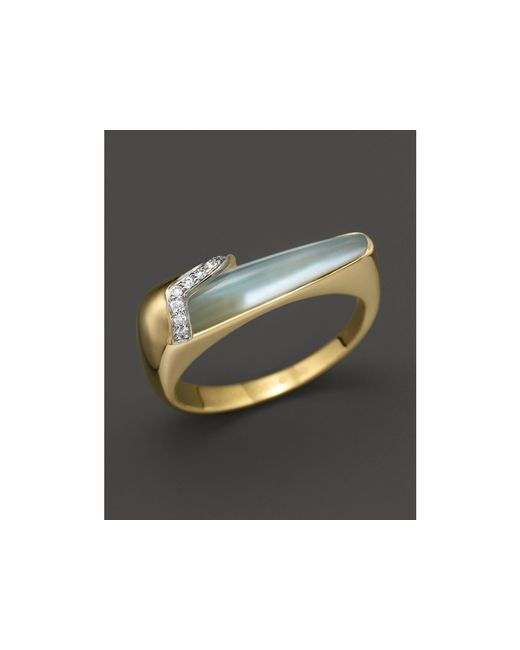 Kara Ross | Metallic 18k Yellow Gold And Diamond Thin Hydra Stacking Ring With Blue Topaz And Mother-of-pearl Doublet | Lyst