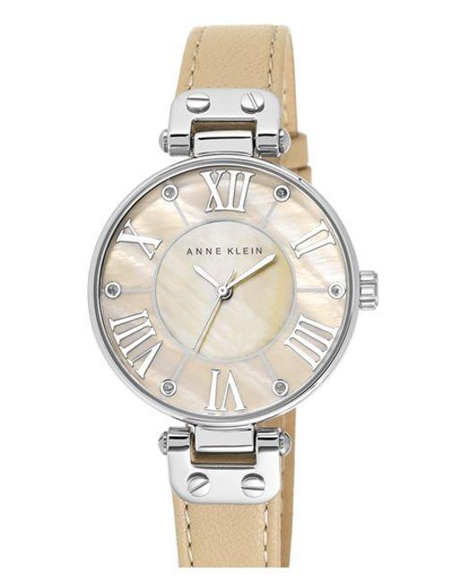 Anne klein crystal index leather strap watch in silver tan silver lyst for Anne klein leather strap