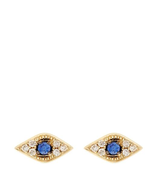 Sydney Evan | Metallic Diamond Mini Evil Eye Stud Earring | Lyst