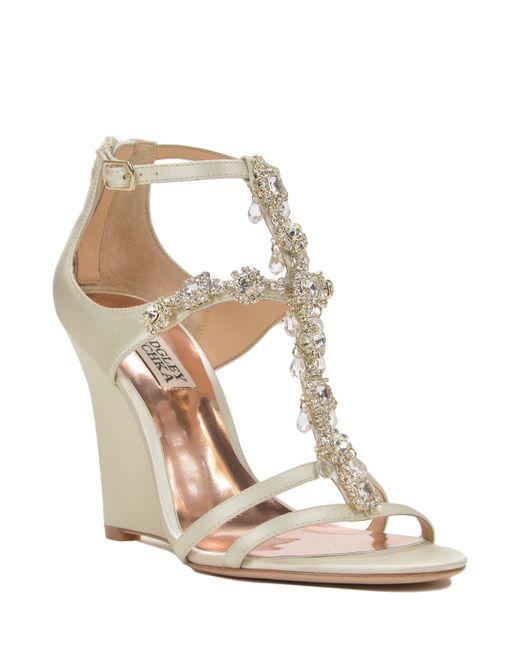 badgley mischka cashet embellished wedge evening shoe in