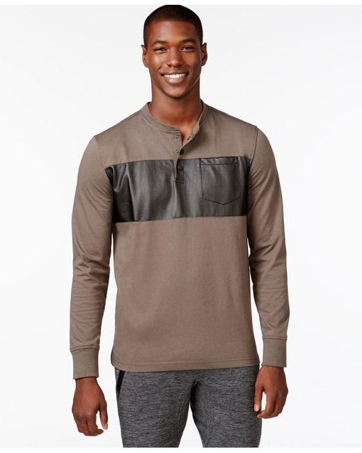 Sean john men 39 s coated panel t shirt in brown for men for Sean john t shirts for mens