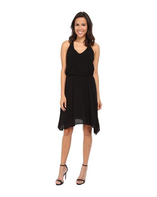 Splendid | Black V-neck Hanky Hem Dress | Lyst