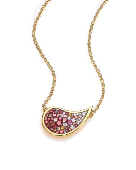 Plevé | Metallic Raspberry Ombre Diamond & 18k Yellow Gold Medium Scorpio Pendant Necklace | Lyst