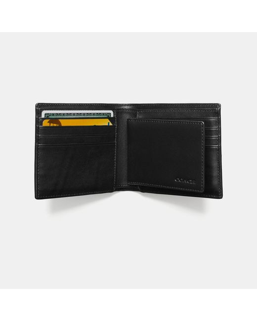 COACH   Black Compact Id Wallet In Signature Coated Canvas for Men   Lyst