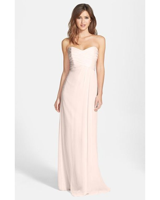 Amsale | Pink Strapless Crinkle Chiffon Gown | Lyst