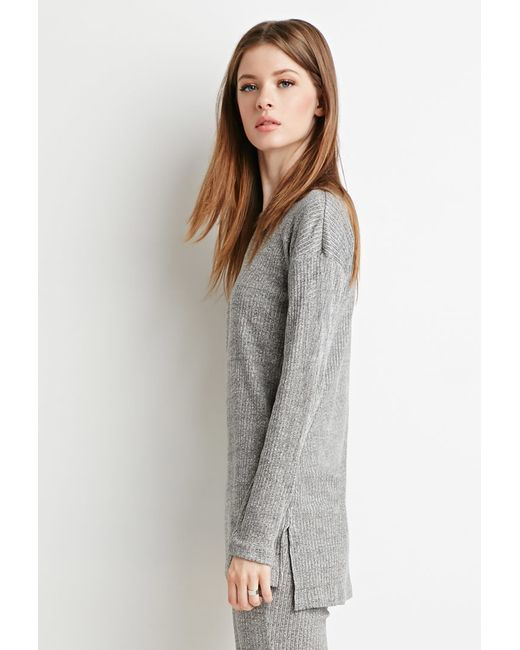 Forever 21   Gray Marled-knit Ribbed Top   Lyst