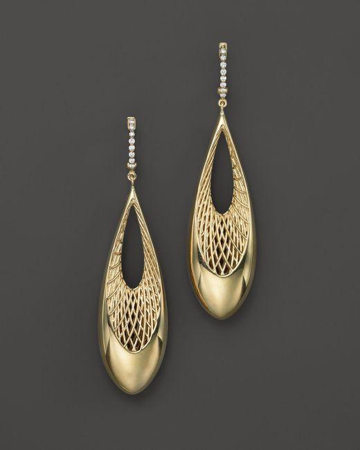 Roberto Coin   Metallic 18k Yellow And White Gold Diamond Teardrop Golden Gate Earrings   Lyst