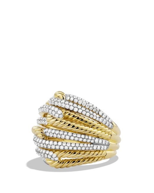 David Yurman | Metallic Labyrinth Dome Ring With Diamonds In 18k Gold | Lyst