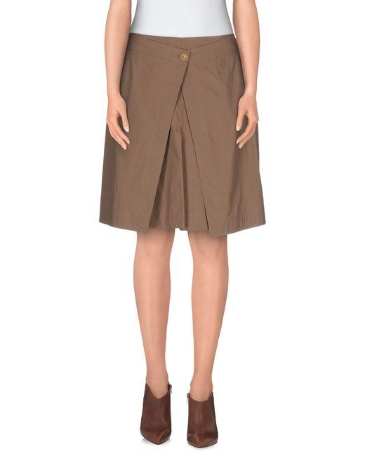 agnona knee length skirt in khaki save 37 lyst