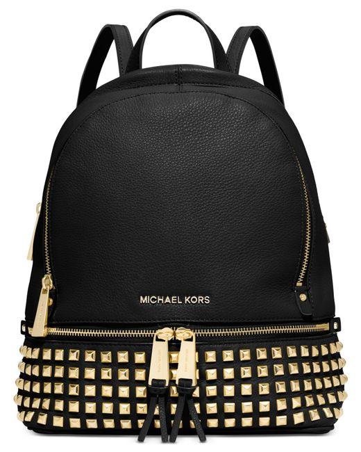 Michael Kors | Black Michael Rhea Small Studded Backpack | Lyst