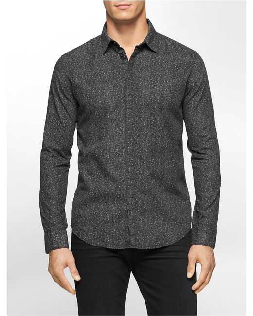 Calvin klein jeans slim fit speckled print shirt in black for Calvin klein slim fit stretch shirt