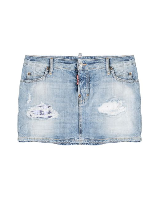 dsquared 178 distressed denim mini skirt blue in blue