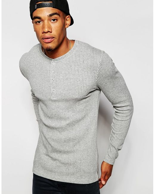 Asos extreme muscle long sleeve t shirt in grey stretch for Ribbed long sleeve shirt