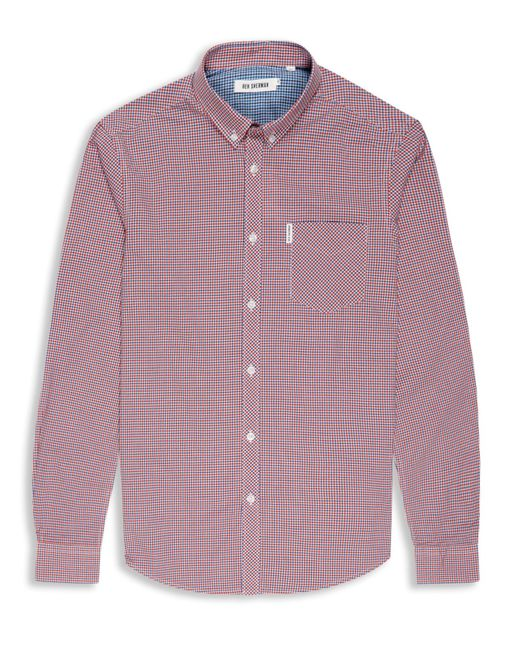 Ben Sherman | Red Mini Mod Check Long Sleeve Shirt for Men | Lyst