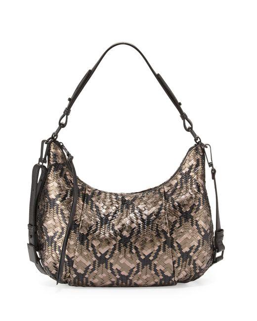 Elliott Lucca Bali Woven Leather Hobo Bag In Black Lyst