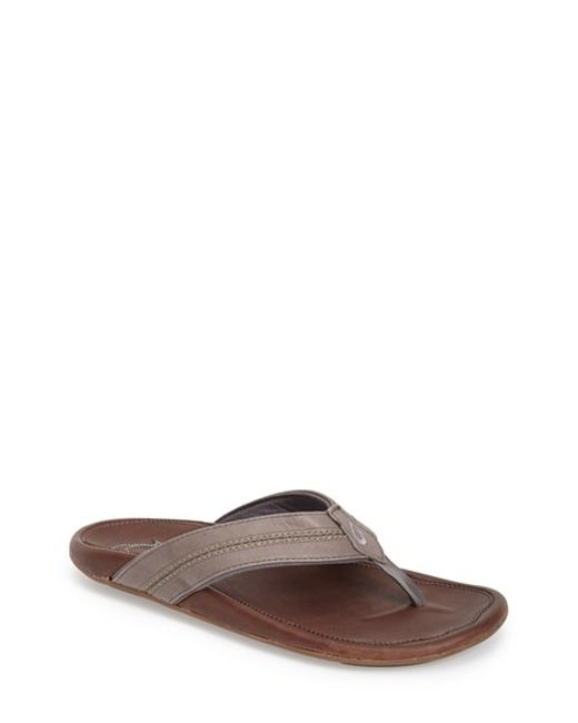 Olukai | Gray 'maka' Leather Flip Flop for Men | Lyst