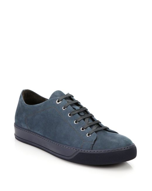 Lanvin | Blue Nubuck-Leather Low-Top Sneakers for Men | Lyst
