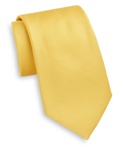 Saks Fifth Avenue | Yellow Satin Silk Tie for Men | Lyst