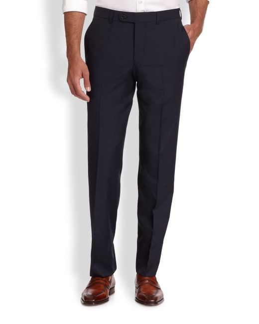 Saks Fifth Avenue | Blue Wool Check Trousers for Men | Lyst