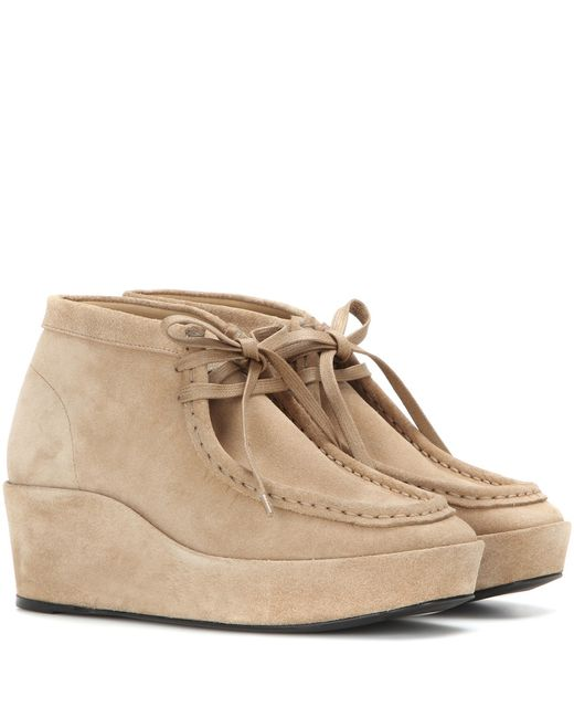 balenciaga suede wedge ankle boots in beige lyst