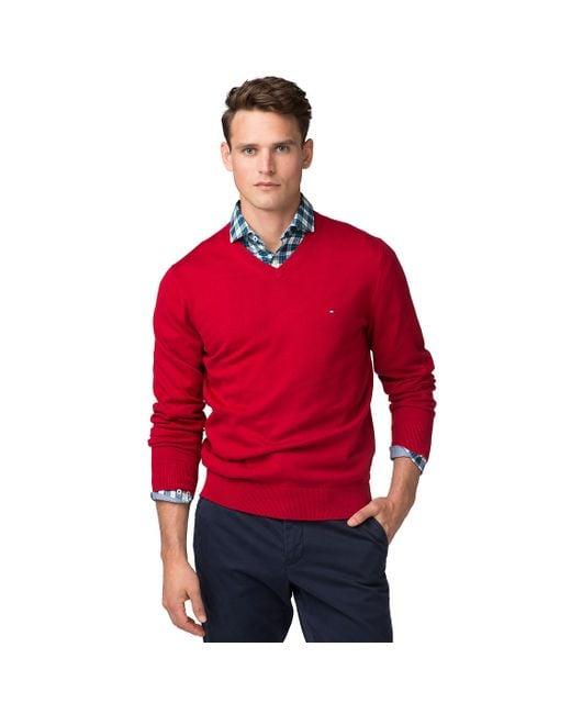 Tommy Hilfiger   Red Basic Cotton Blend Sweater for Men   Lyst