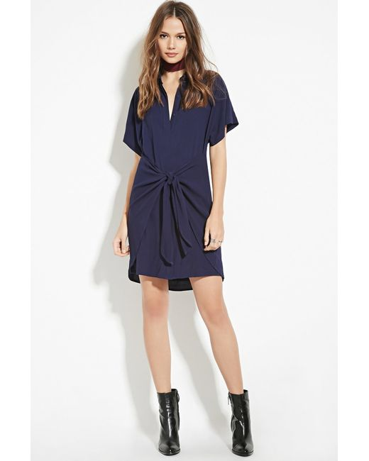 Forever 21 Wrap Tie Shirt Dress In Blue Navy Lyst